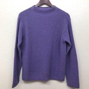 EILEEN FISHER Marled Mock Neck Sweater Wool Blend